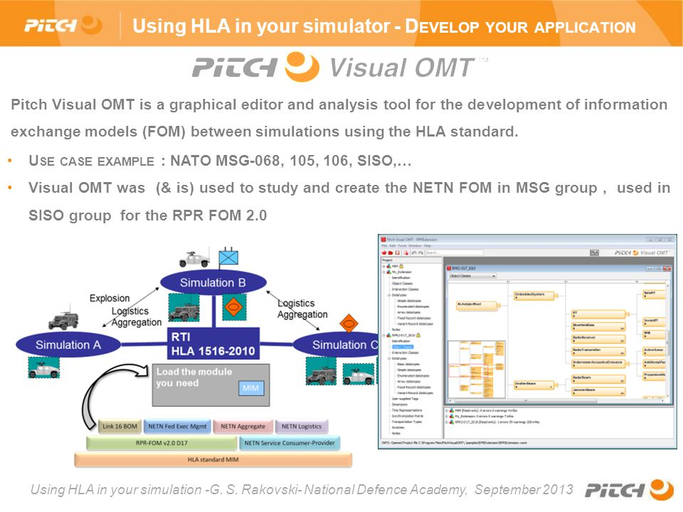 Using HLA in your simulation -G. S. Rakovski- National Defence Academy, September 2013 Pitch Visual OMT is a graphical editor and analysis tool for th