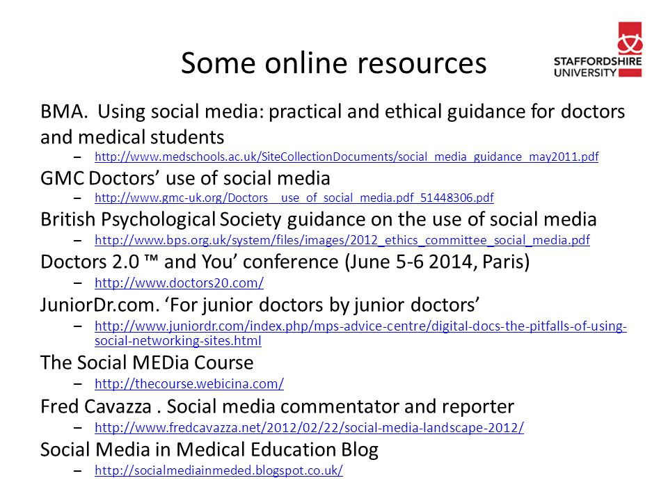 Some online resources BMA.