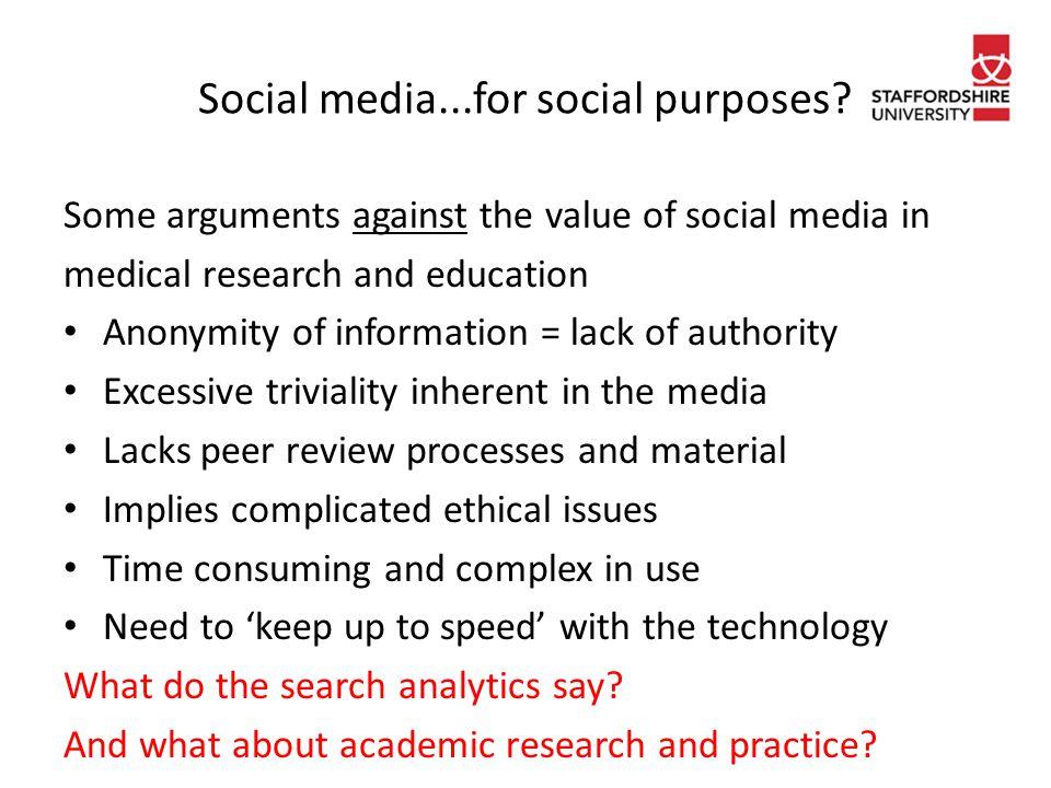 Social media...for social purposes.