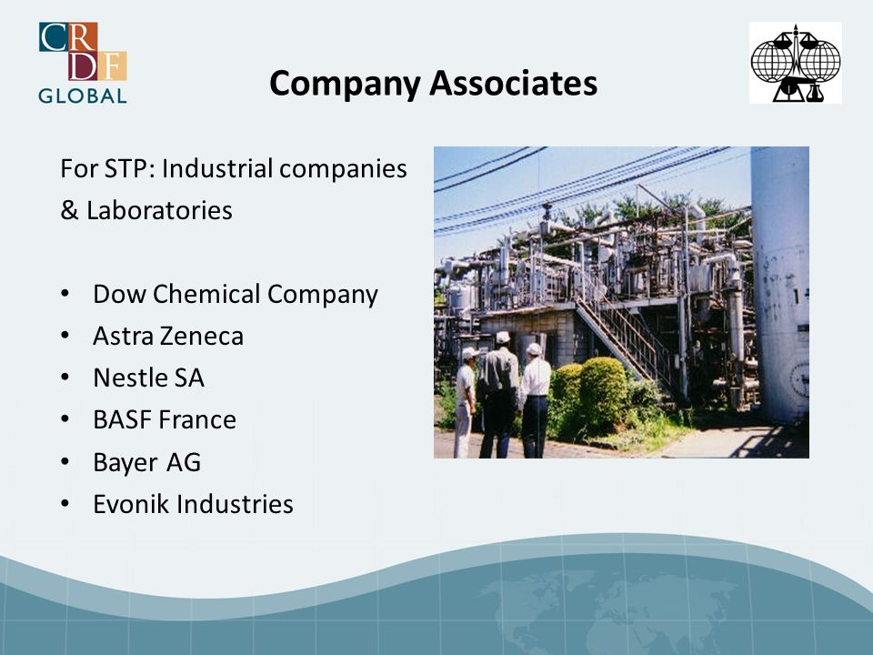 Company Associates For STP: Industrial companies & Laboratories Dow Chemical Company Astra Zeneca Nestle SA BASF France Bayer AG Evonik Industries