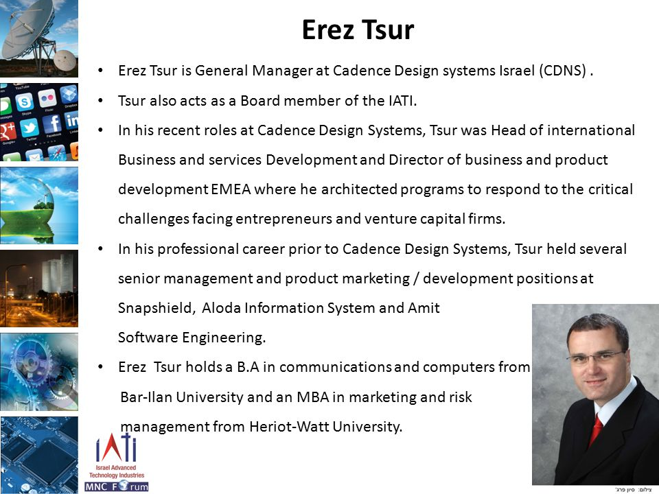Erez Tsur Erez Tsur is General Manager at Cadence Design systems Israel (CDNS). Tsur also acts as a Board member of the IATI. In his recent roles at C