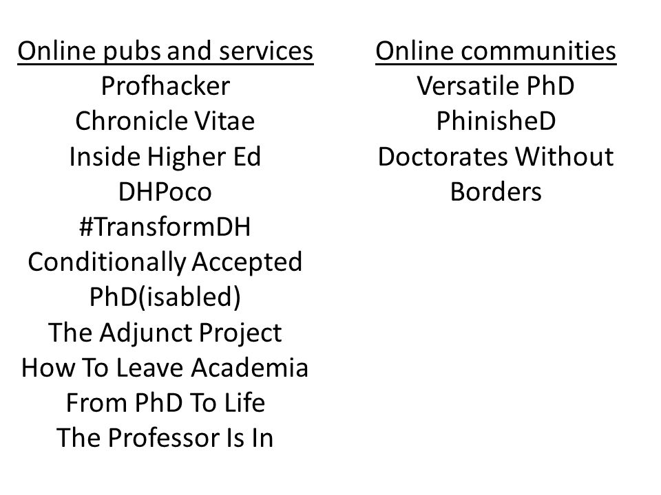 Online pubs and services Profhacker Chronicle Vitae Inside Higher Ed DHPoco #TransformDH Conditionally Accepted PhD(isabled) The Adjunct Project How To Leave Academia From PhD To Life The Professor Is In Online communities Versatile PhD PhinisheD Doctorates Without Borders