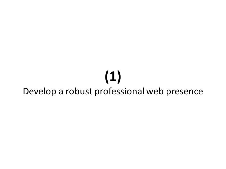 (1) Develop a robust professional web presence
