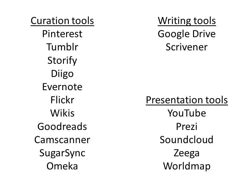 Curation tools Pinterest Tumblr Storify Diigo Evernote Flickr Wikis Goodreads Camscanner SugarSync Omeka Writing tools Google Drive Scrivener Presentation tools YouTube Prezi Soundcloud Zeega Worldmap