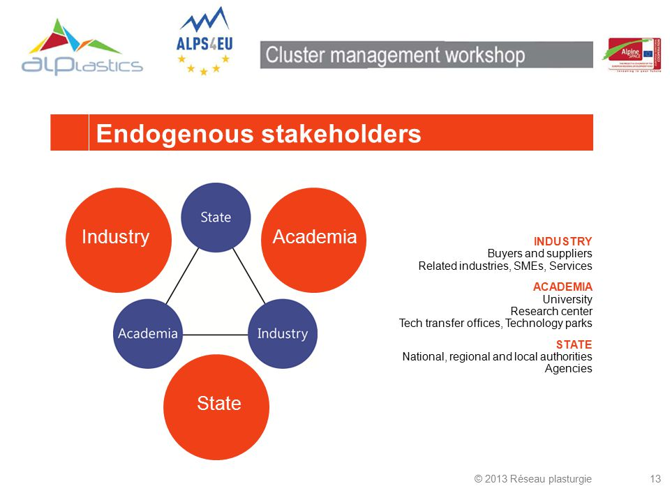 Endogenous stakeholders © 2013 Réseau plasturgie13 AcademiaIndustryState INDUSTRY Buyers and suppliers Related industries, SMEs, Services ACADEMIA University Research center Tech transfer offices, Technology parks STATE National, regional and local authorities Agencies