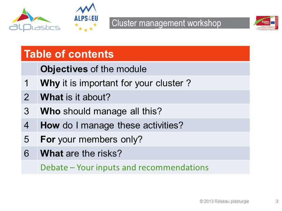 © 2013 Réseau plasturgie34 Priorities (1) Cluster Manager's Contact Patterns Source: Dr Christian Ketels, Dr Göran Lindqvist, Dr Örjan Sölvell, Strengthening Clusters and Competitiveness in Europe, The role of Clusters Organisations, The Cluster Observatory, 2012