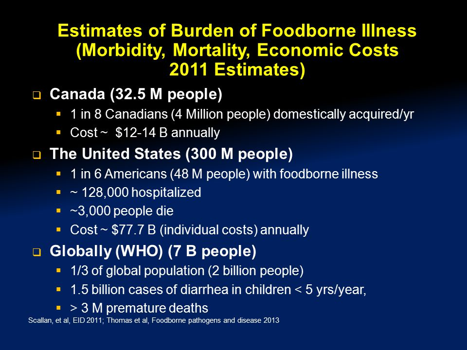 Estimates of Burden of Foodborne Illness (Morbidity, Mortality, Economic Costs 2011 Estimates)  Canada (32.5 M people)  1 in 8 Canadians (4 Million people) domestically acquired/yr  Cost ~ $12-14 B annually  The United States (300 M people)  1 in 6 Americans (48 M people) with foodborne illness  ~ 128,000 hospitalized  ~3,000 people die  Cost ~ $77.7 B (individual costs) annually  Globally (WHO) (7 B people)  1/3 of global population (2 billion people)  1.5 billion cases of diarrhea in children < 5 yrs/year,  > 3 M premature deaths Scallan, et al, EID 2011; Thomas et al, Foodborne pathogens and disease 2013