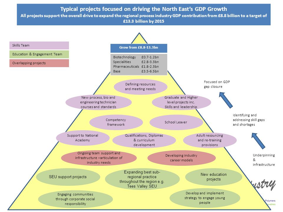 Typical projects focused on driving the North East's GDP Growth All projects support the overall drive to expand the regional process industry GDP contribution from £8.8 billion to a target of £13.3 billion by 2015 SEU support projects Expanding best sub- regional practice throughout the region e.g.