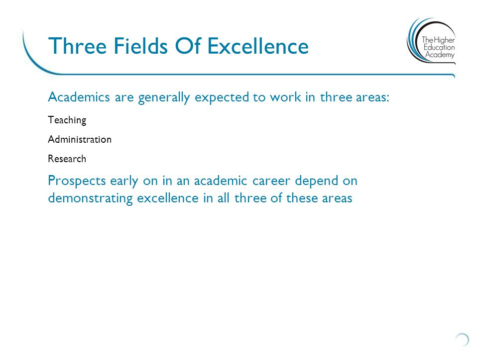 Academics are generally expected to work in three areas: Teaching Administration Research Prospects early on in an academic career depend on demonstrating excellence in all three of these areas Three Fields Of Excellence