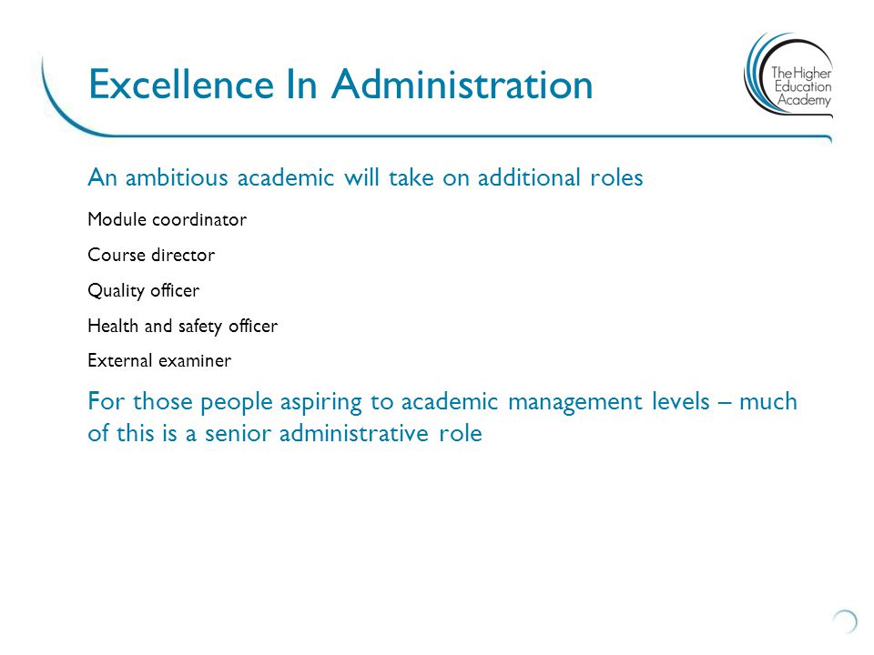 An ambitious academic will take on additional roles Module coordinator Course director Quality officer Health and safety officer External examiner For those people aspiring to academic management levels – much of this is a senior administrative role Excellence In Administration