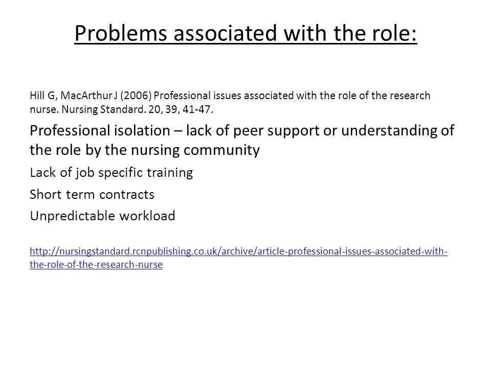 Problems associated with the role: Hill G, MacArthur J (2006) Professional issues associated with the role of the research nurse.