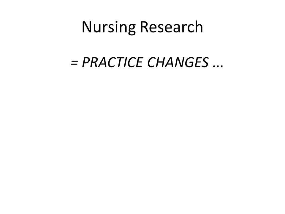 Nursing Research = PRACTICE CHANGES...