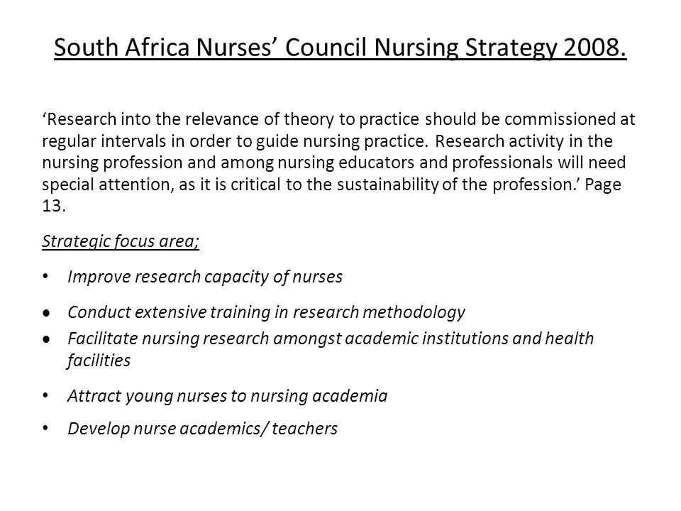 South Africa Nurses' Council Nursing Strategy 2008.