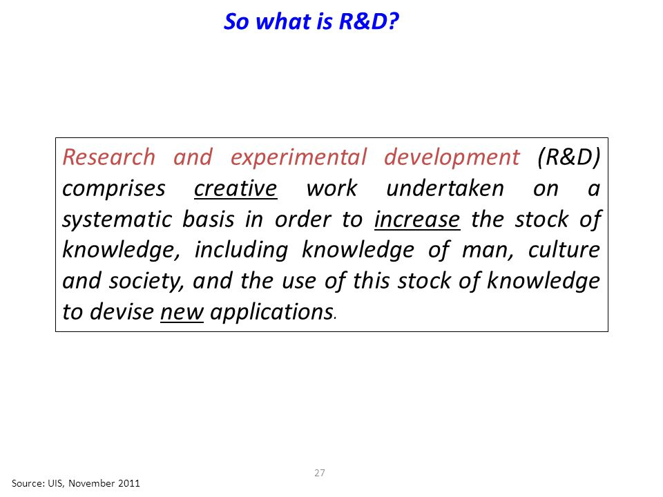 27 So what is R&D.