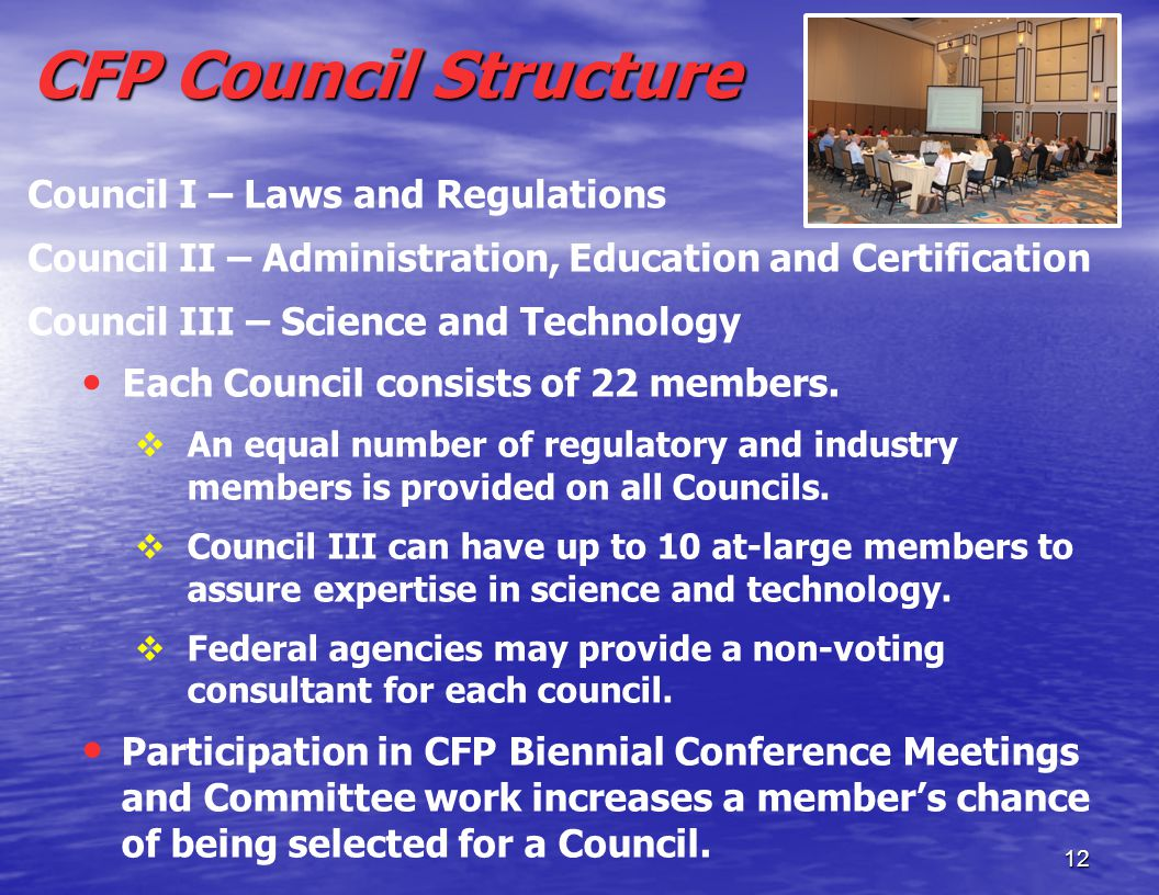 12 CFP Council Structure Council I – Laws and Regulations Council II – Administration, Education and Certification Council III – Science and Technology Each Council consists of 22 members.