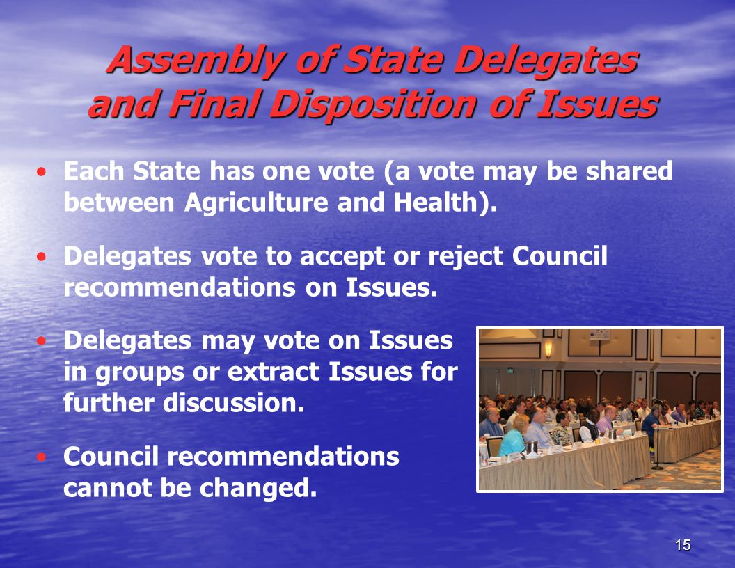 15 Assembly of State Delegates and Final Disposition of Issues Each State has one vote (a vote may be shared between Agriculture and Health).