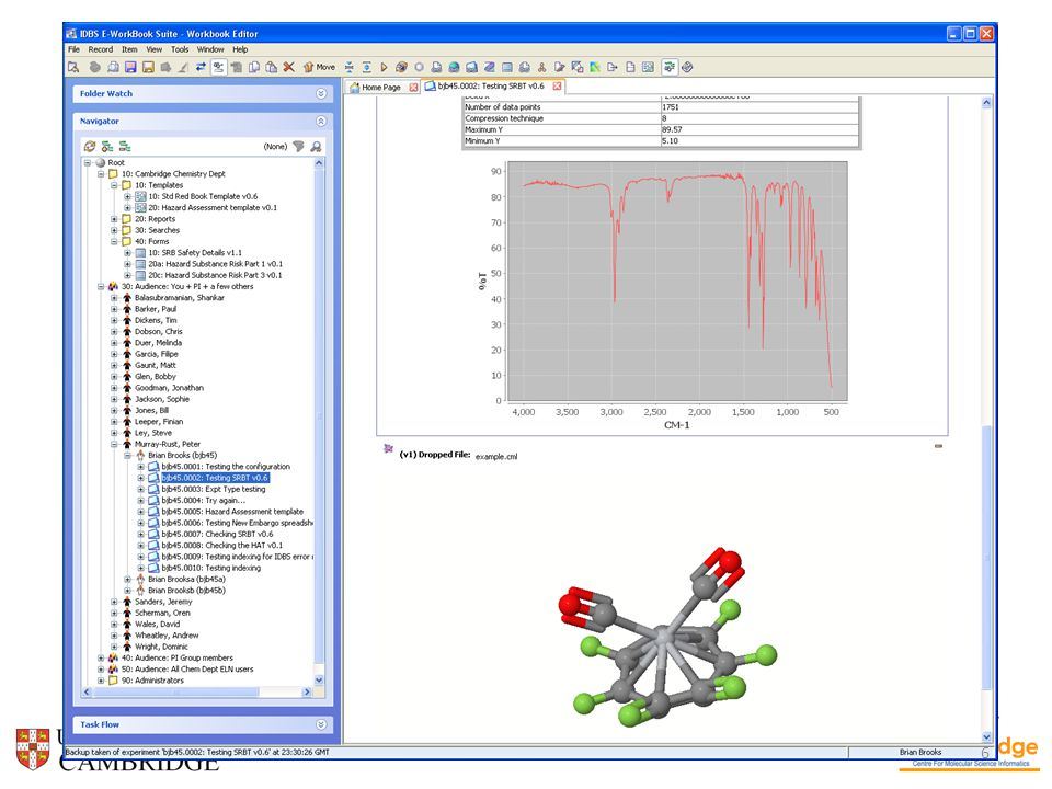 ELN Health & Safety Compd Inventory File storage Instru- ments Pub- lishing Work- flow Structure searching Chemical purchasing Intellectual Property Data mining Experiments are a fundamental part of a research scientist's activity The Electronic Lab Notebook is the missing link at the centre of the wheel of a scientist's activities and data sources ELN – a platform for IT innovation?