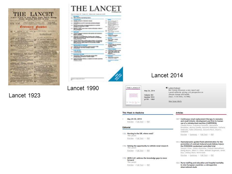 Lancet 1923 Lancet 1990 Lancet 2014