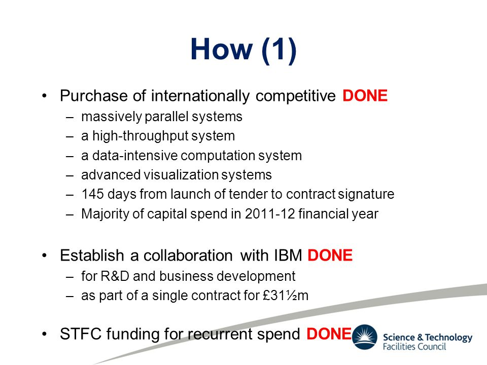 How (1) Purchase of internationally competitive DONE –massively parallel systems –a high-throughput system –a data-intensive computation system –advanced visualization systems –145 days from launch of tender to contract signature –Majority of capital spend in 2011-12 financial year Establish a collaboration with IBM DONE –for R&D and business development –as part of a single contract for £31½m STFC funding for recurrent spend DONE