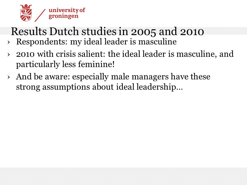 Results Dutch studies in 2005 and 2010 ›Respondents: my ideal leader is masculine ›2010 with crisis salient: the ideal leader is masculine, and particularly less feminine.