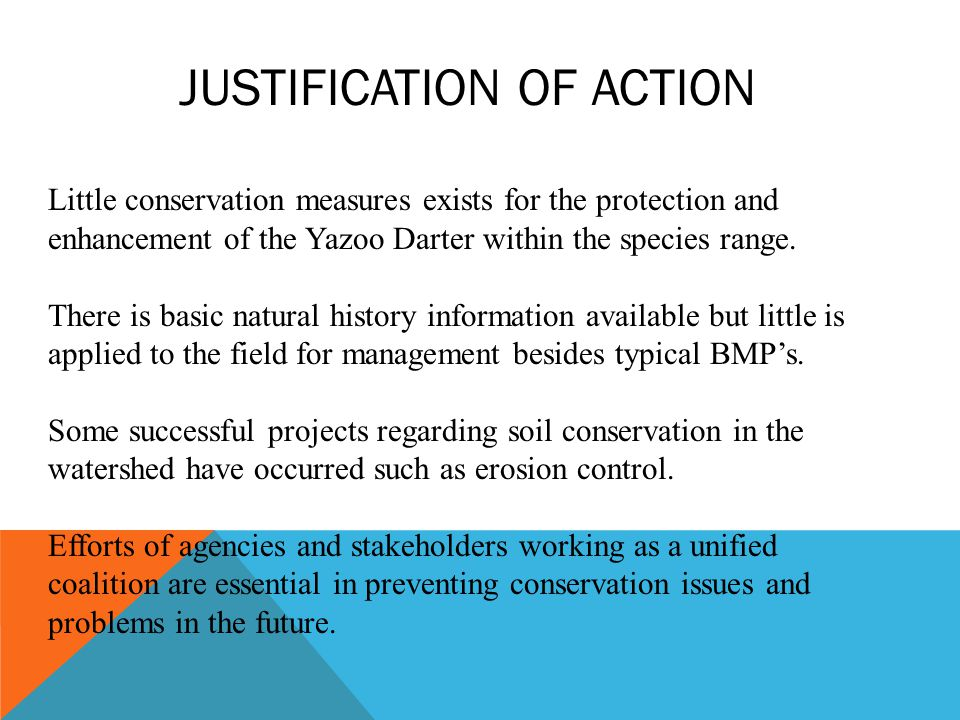 Little conservation measures exists for the protection and enhancement of the Yazoo Darter within the species range.