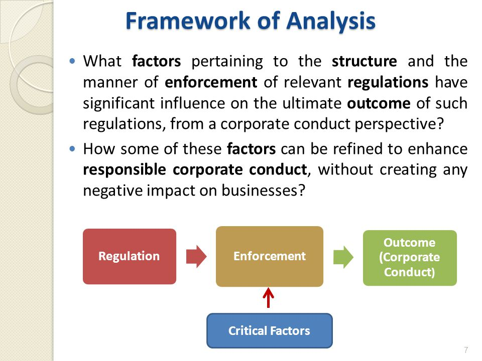 Framework of Analysis What factors pertaining to the structure and the manner of enforcement of relevant regulations have significant influence on the ultimate outcome of such regulations, from a corporate conduct perspective.