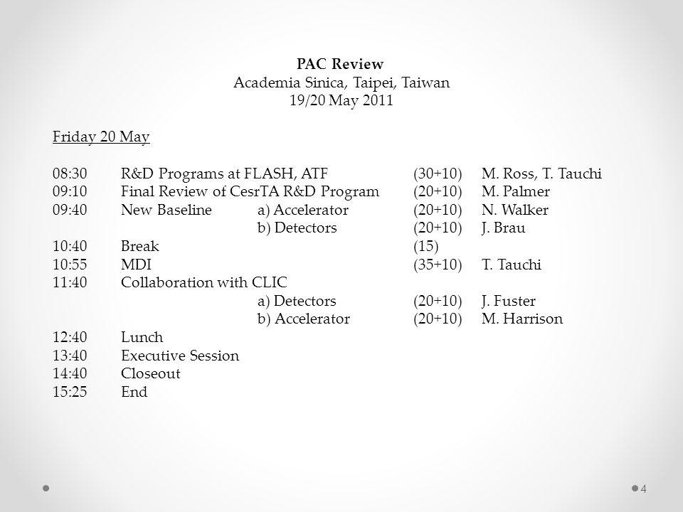 PAC Review Academia Sinica, Taipei, Taiwan 19/20 May 2011 Friday 20 May 08:30R&D Programs at FLASH, ATF (30+10) M.