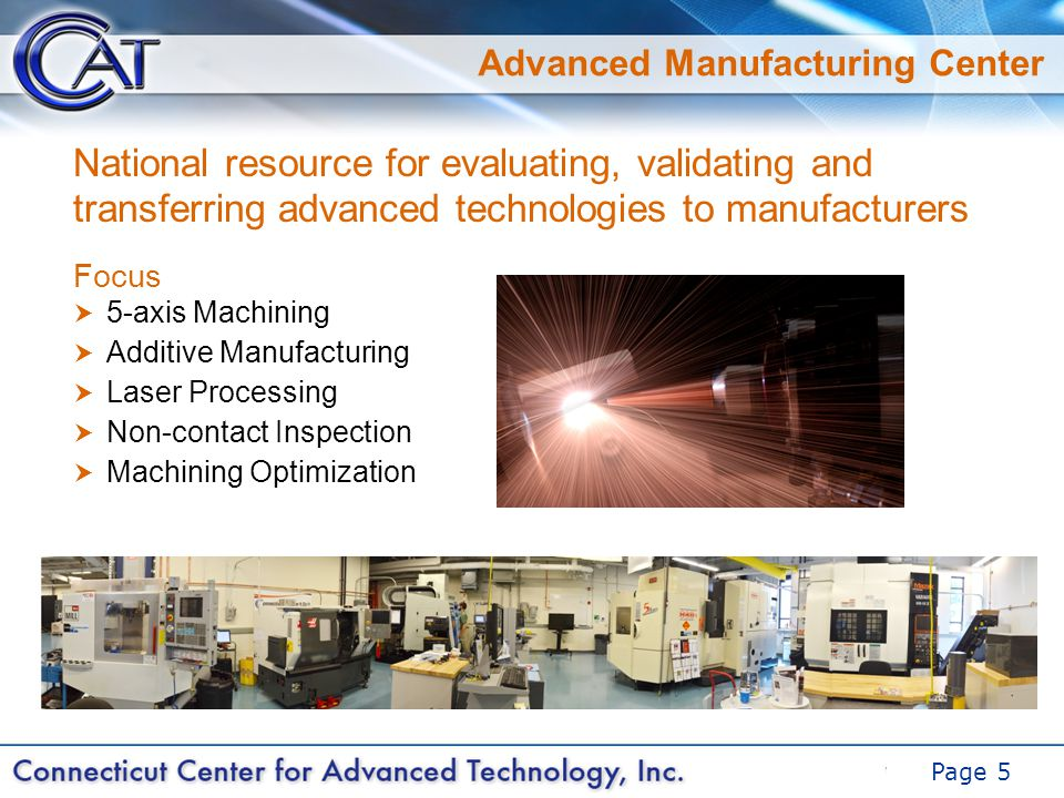 DRAFT Page 5 Advanced Manufacturing Center Focus  5-axis Machining  Additive Manufacturing  Laser Processing  Non-contact Inspection  Machining Optimization National resource for evaluating, validating and transferring advanced technologies to manufacturers