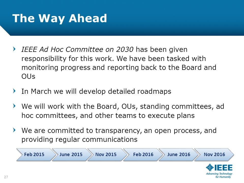 12-CRS-0106 REVISED 8 FEB 2013 The Way Ahead IEEE Ad Hoc Committee on 2030 has been given responsibility for this work. We have been tasked with monit