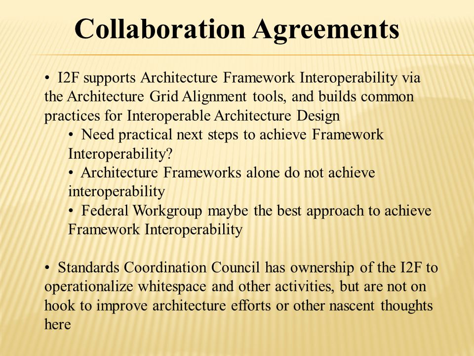 I2F supports Architecture Framework Interoperability via the Architecture Grid Alignment tools, and builds common practices for Interoperable Architecture Design Need practical next steps to achieve Framework Interoperability.