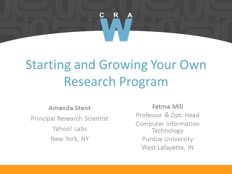 Starting and Growing Your Own Research Program Fatma Mili Professor & Dpt.