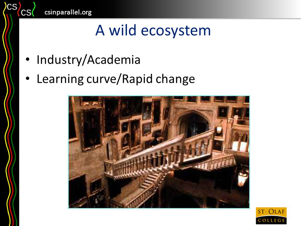csinparallel.org A wild ecosystem Industry/Academia Learning curve/Rapid change
