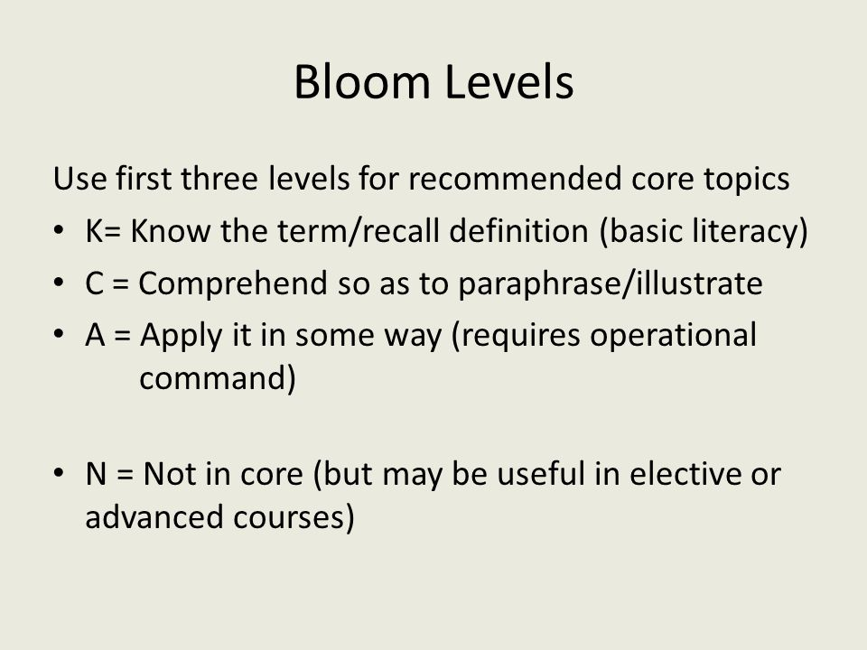 Bloom Levels Use first three levels for recommended core topics K= Know the term/recall definition (basic literacy) C = Comprehend so as to paraphrase/illustrate A = Apply it in some way (requires operational command) N = Not in core (but may be useful in elective or advanced courses)