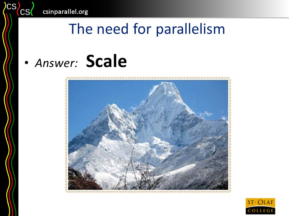 csinparallel.org The need for parallelism Answer: Scale Cloud applications + = 30,000,000,000,000,000
