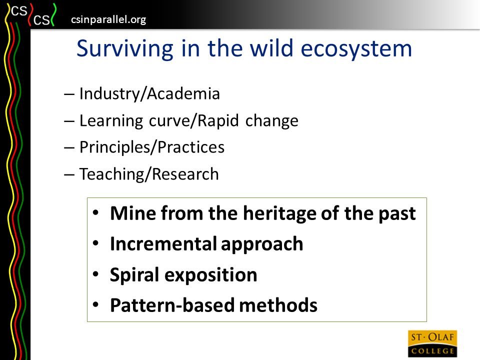 csinparallel.org Surviving in the wild ecosystem – Industry/Academia – Learning curve/Rapid change – Principles/Practices – Teaching/Research Mine from the heritage of the past Incremental approach Spiral exposition Pattern-based methods