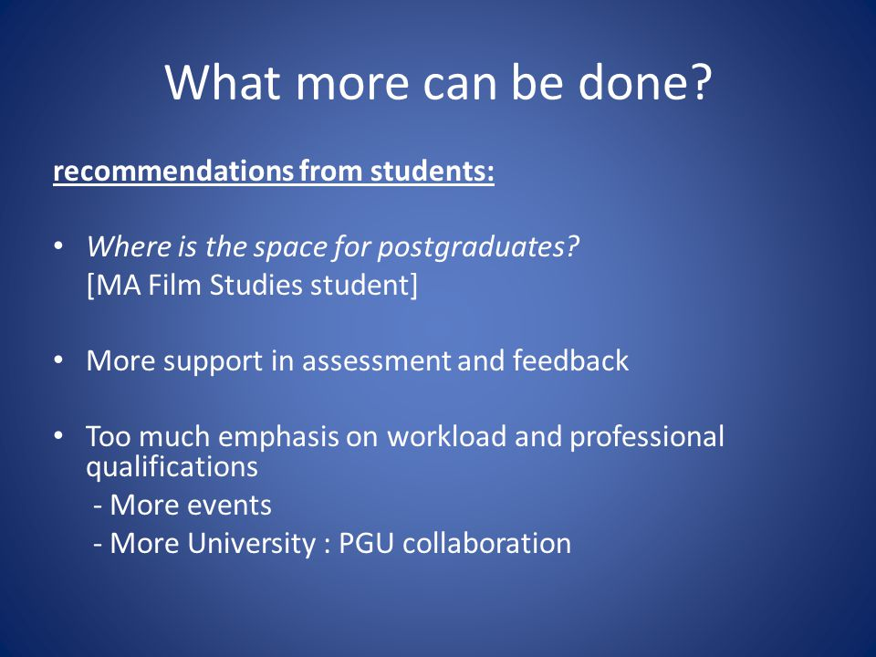 What more can be done. recommendations from students: Where is the space for postgraduates.