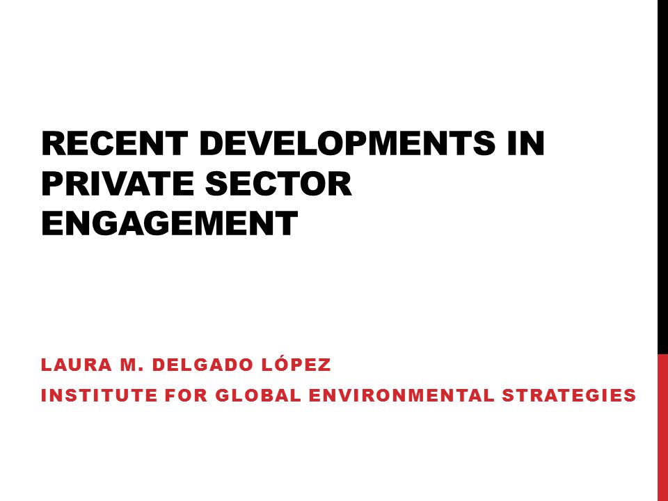 RECENT DEVELOPMENTS IN PRIVATE SECTOR ENGAGEMENT LAURA M.