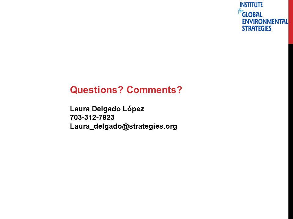 Questions Comments Laura Delgado López 703-312-7923 Laura_delgado@strategies.org