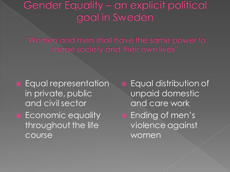  Equal representation in private, public and civil sector  Economic equality throughout the life course  Equal distribution of unpaid domestic and