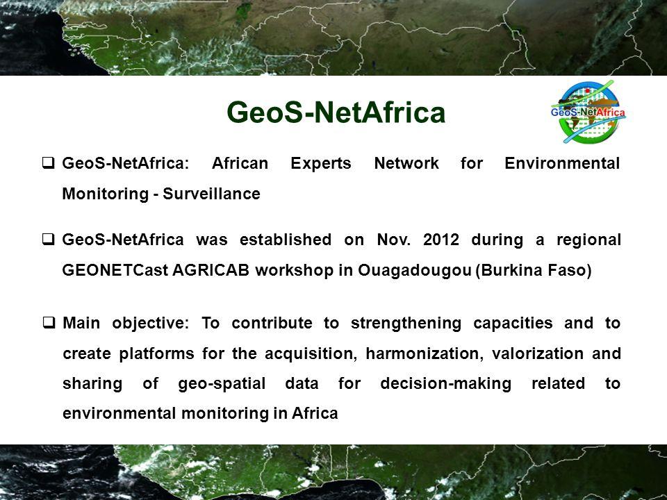 GeoS-NetAfrica  GeoS-NetAfrica: African Experts Network for Environmental Monitoring - Surveillance  GeoS-NetAfrica was established on Nov.