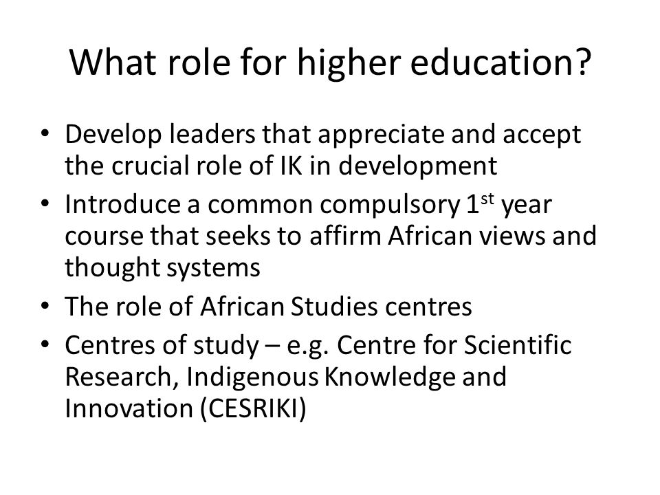 What role for higher education.