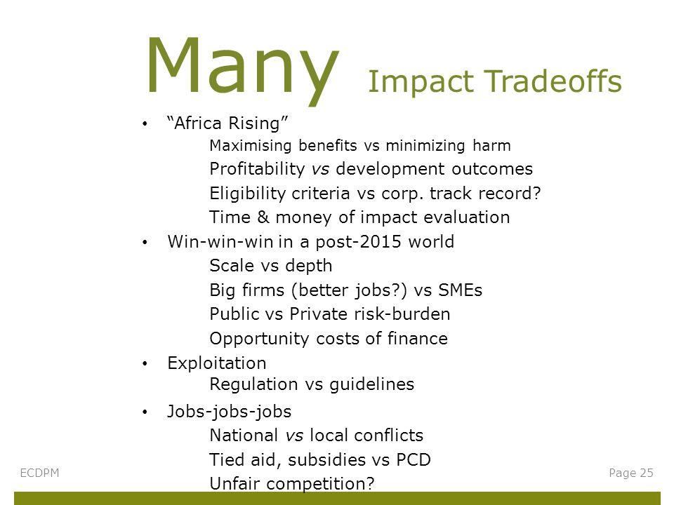 Africa Rising Maximising benefits vs minimizing harm Profitability vs development outcomes Eligibility criteria vs corp.