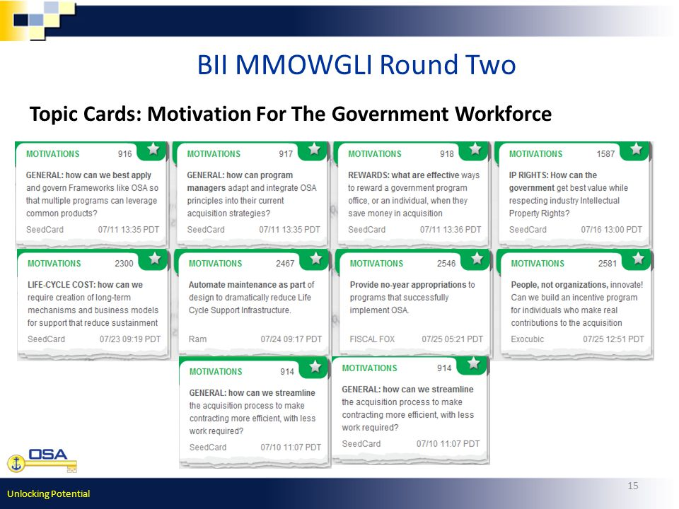 Unlocking Potential 15 BII MMOWGLI Round Two Topic Cards: Motivation For The Government Workforce
