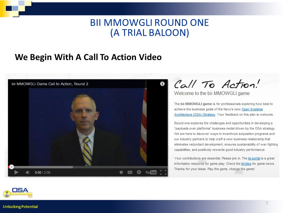 Unlocking Potential 7 BII MMOWGLI ROUND ONE (A TRIAL BALOON) We Begin With A Call To Action Video