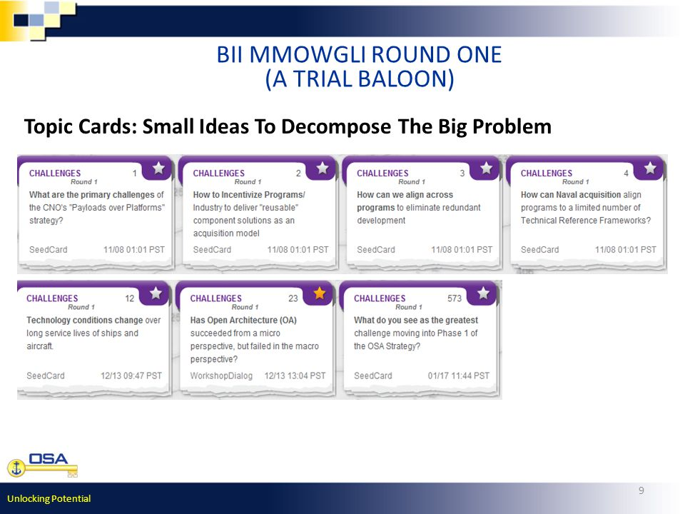 Unlocking Potential 9 BII MMOWGLI ROUND ONE (A TRIAL BALOON) Topic Cards: Small Ideas To Decompose The Big Problem