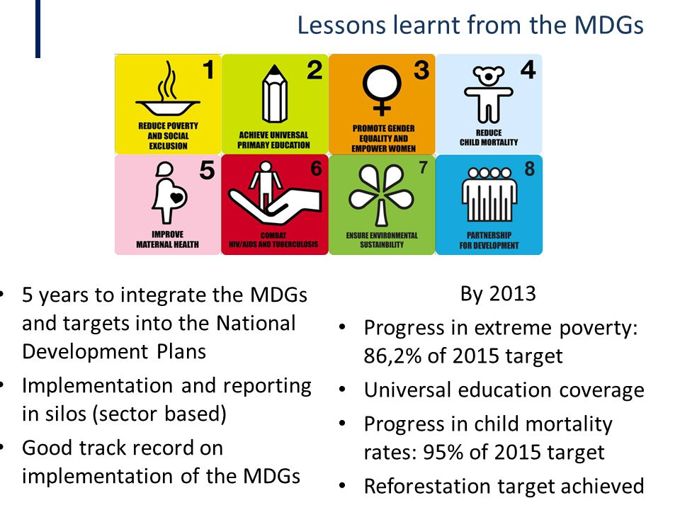 Lessons learnt from the MDGs 5 years to integrate the MDGs and targets into the National Development Plans Implementation and reporting in silos (sect