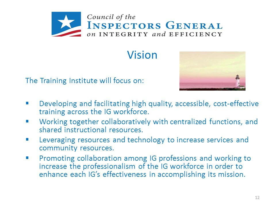 Vision The Training Institute will focus on:  Developing and facilitating high quality, accessible, cost-effective training across the IG workforce.