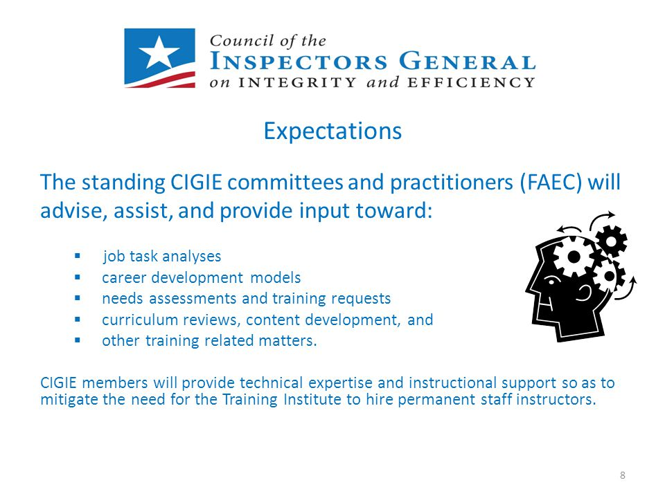 Expectations The standing CIGIE committees and practitioners (FAEC) will advise, assist, and provide input toward:  job task analyses  career develo