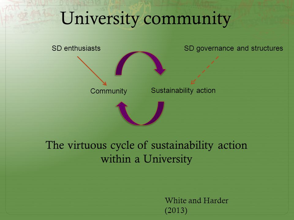 Sustainability action Community SD enthusiasts SD governance and structures White and Harder (2013) The virtuous cycle of sustainability action within a University University community
