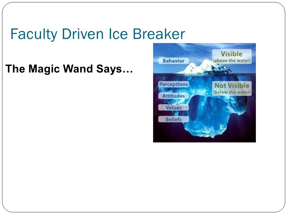 Faculty Driven Ice Breaker The Magic Wand Says…
